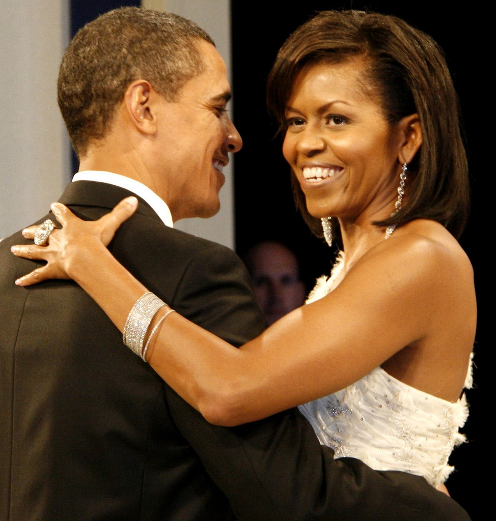 President and Michelle Obama dancing